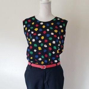 Vintage Worthington Rainbow Polka Dot Confetti Top